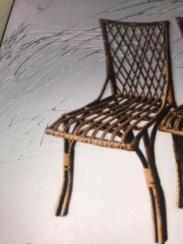 Suite de 4 chaises en rotin vintage de Louis Sognot