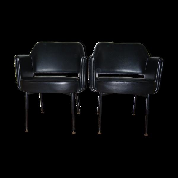 Paire de fauteuils vintage années 60 par Gautier-Delaye