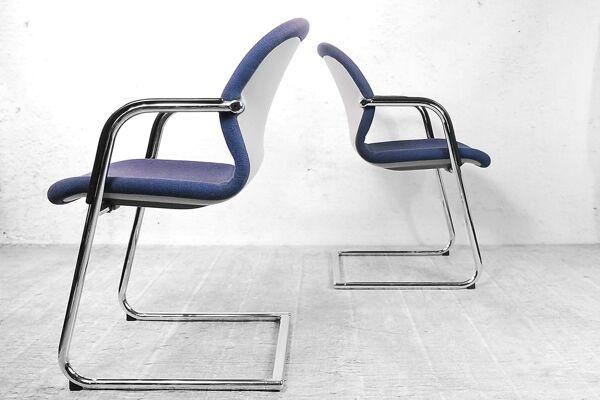 Suite de 4 chaises de bureau 216-5 de Wilkhahn Allemagne 1983