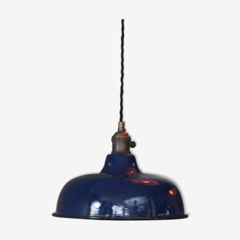 Abat jour emaillé lampe industrielle bleu nuit