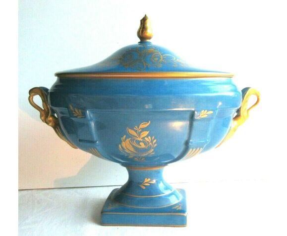 Coupe sur pied porcelaine de Couleuvre bleue et or, Bouquet de Roses