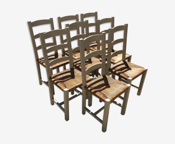 Set de 8 chaises paillées
