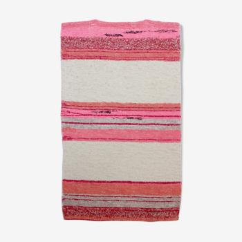 Tapis diego rose et blanc 65 x 120 cm
