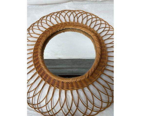 Miroir en rotin soleil vintage 43cm