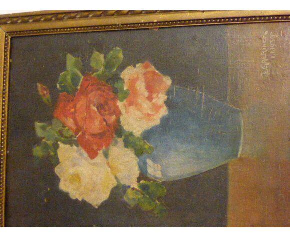 Tableau le bouquet de roses signé par J. Gaertner huile sur bois art deco