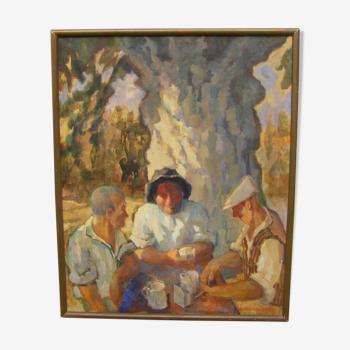"Peinture ""buveurs au soleil"""
