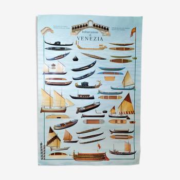 Affiche bateaux embarcations de Venise par Libero Patrignani