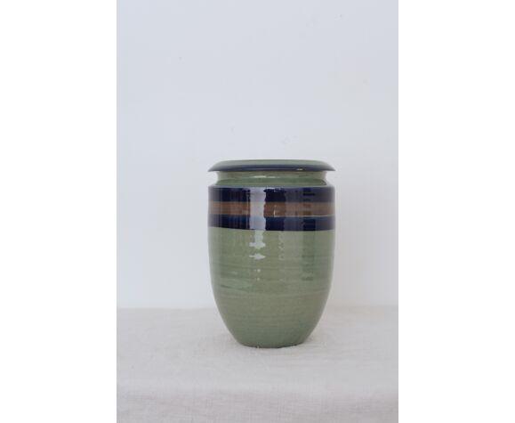Vase grès vert 3 bande