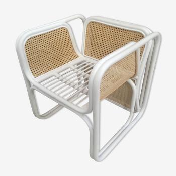 Chaise en rotin laqué blanc et cannage naturel