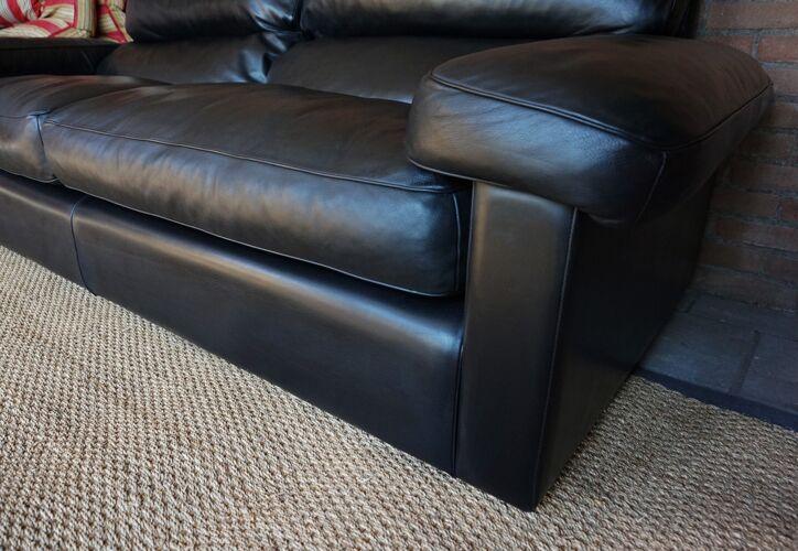 Black Leather Sofa by Tito Agnoli for Poltrona Frau, Italy, 1980s