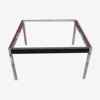 Table basse vintage chrome et cuir