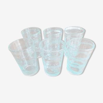 Lot de 6 verres à limonade Long Drink en verre soufflé à la bouche épais voluté et bullé