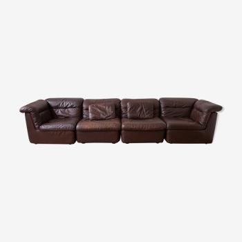 Canapé modulable en cuir marron WK M'bel par Ernst Martin Dettinger