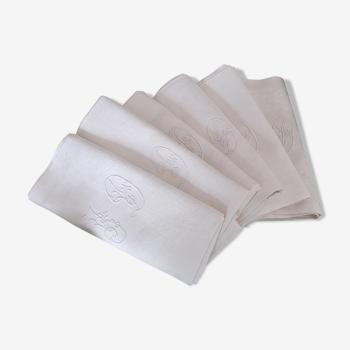Lot de 6 serviettes de table anciennes damassées monogrammées