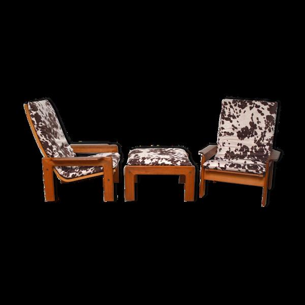 Selency Paire de fauteuils danois en teck et repose pieds, 1960