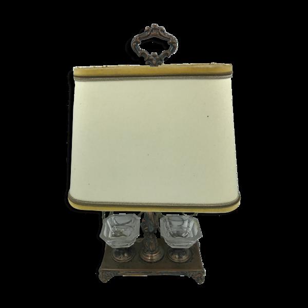 Lampe de bureau  bouillotte avec acier en bronze vintage