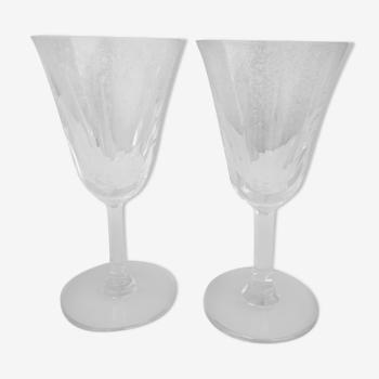 2 verres à vin estampillés Cristal Saint Louis H 16 cm