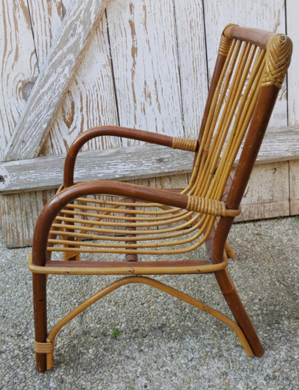 Fauteuil enfant bambou et rotin, vintage, années 60