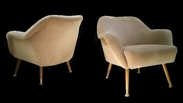 1/3 fauteuil Club organique années 50 60 restauré