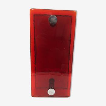 Poignées de porte en verre rouge vintage années 60