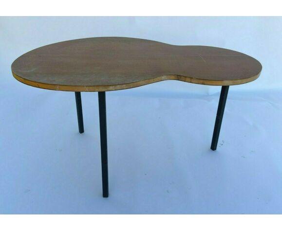 Table basse haricot 1960 pied tubulaire vintage minvielle patine claire