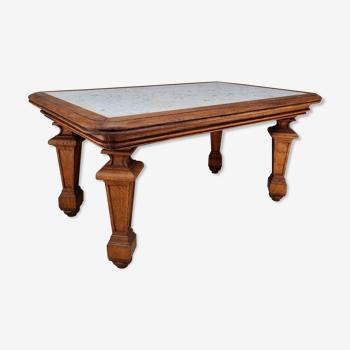Table en chêne et marbre blanc