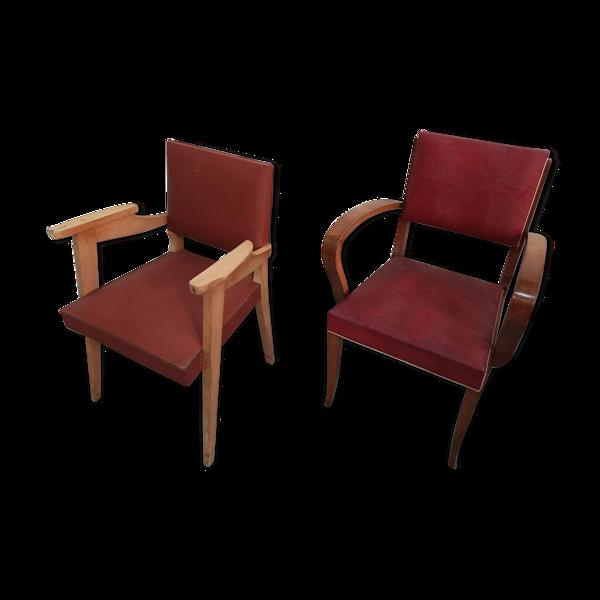 Lot 2 fauteuils bridges skaï rouge bordeaux année 50