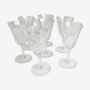 Set of 7 cut crystal wine glasses