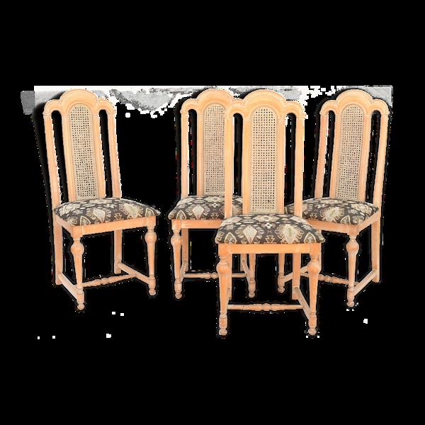 Set de 4 chaises à dossier canné