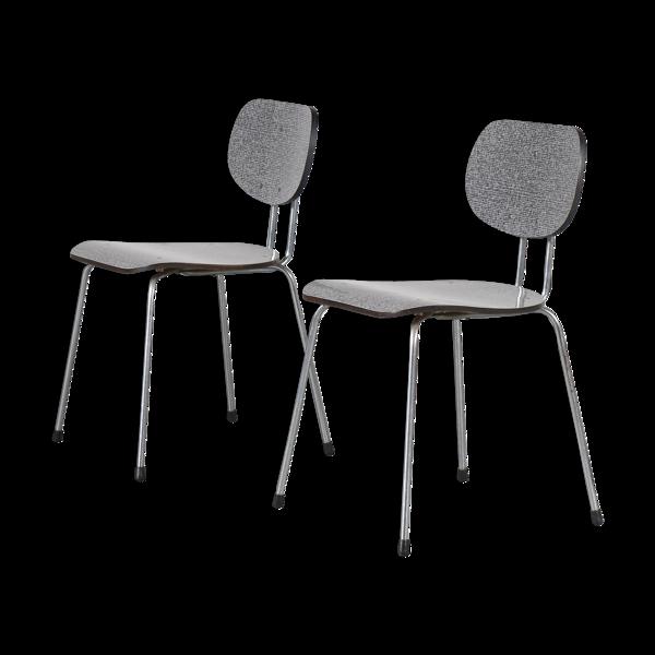 Paire de chaises «CT2» par Willy van der Meeren pour Tubax, Belgique 1950