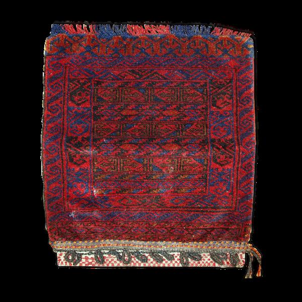 Tapis ancien collectable Uzbek sac fait main 52 x 52cm