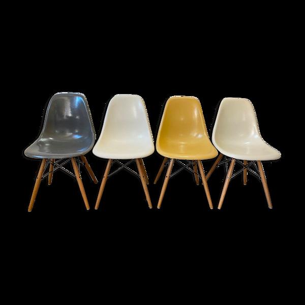 Set de 4 chaises dsw elephant grey Eames Herman miller vintage oak chêne clair