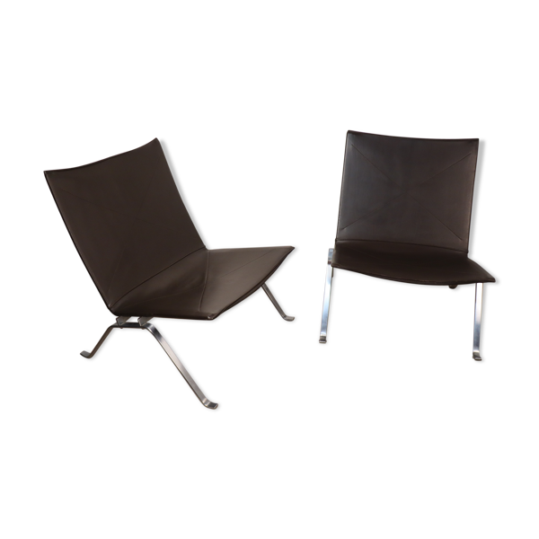 Paire de fauteuils PK22 par Poul Kjaerholm pour Fritz Hansen