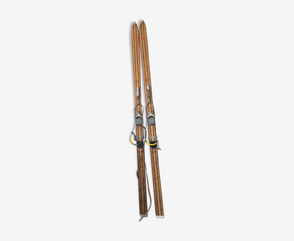 Paire de ski Rossignol Hickory vintage en bois