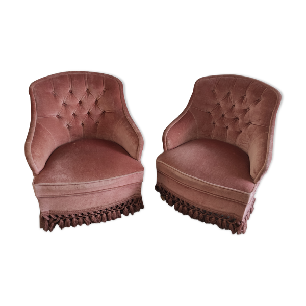 Selency Paire de fauteuils capitonné vieux rose