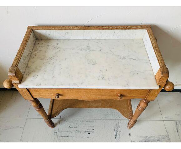 Table de toilette ancienne avec plateau en marbre blanc