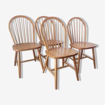 Set de 4 chaises Windsor en pin massif, bois naturel, 1960