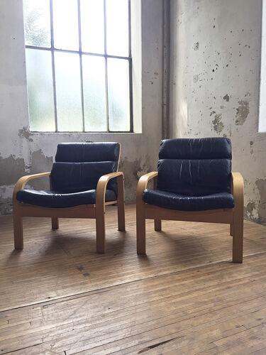 Canapé et fauteuils danois bois courbé et cuir