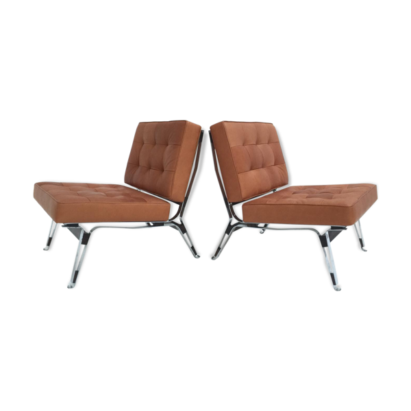 Set de deux fauteuils modèles 856 en cuir par Ico Parisi pour Cassina 1957