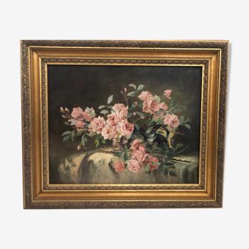 Peinture sur panneau début du XXè bouquet de roses