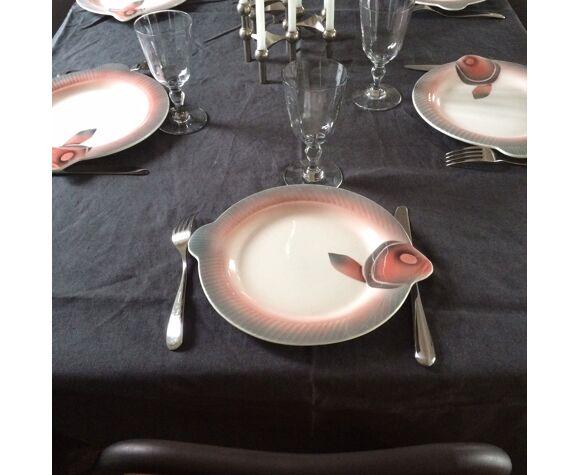 Assiettes poissons Digoin & Sarreguemines