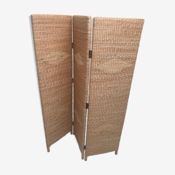 Paravent vintage en rotin et bambou 1960