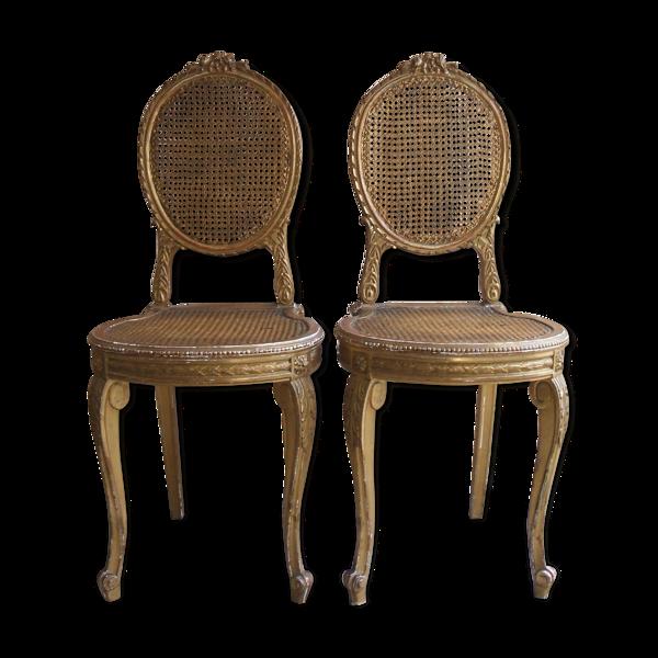 Selency Paire de chaises en bois doré
