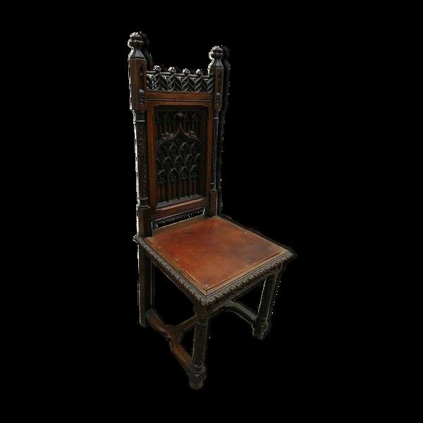 Selency Chaise gothique en chêne du XIXème siècle