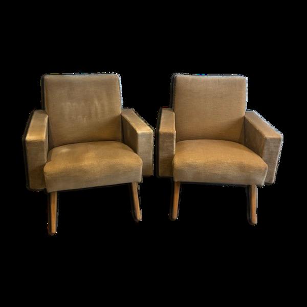 Selency Paire de fauteuils vintage 1950