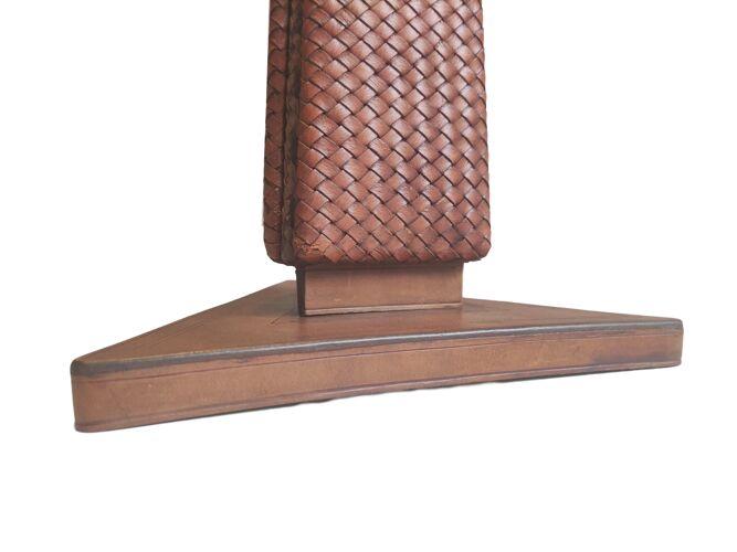 Pied de lampe Art Deco en cuir tressé, 1930