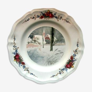 Assiette Sarreguemines modèle Obernay, Paysage de neige de H. LOUX