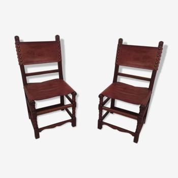 Paire de chaises cuir et chêne