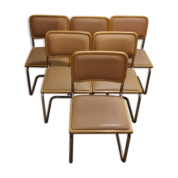 Selency Lot de 6 chaises Breuer Cesca B32 skaï