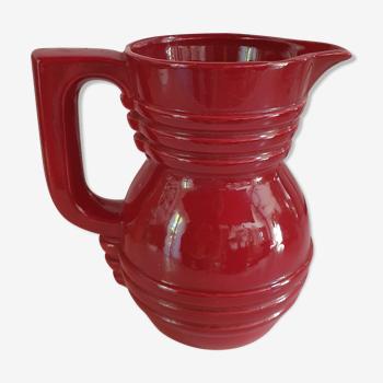 pichet vintage rouge bordeaux P.L france cerclé en céramique